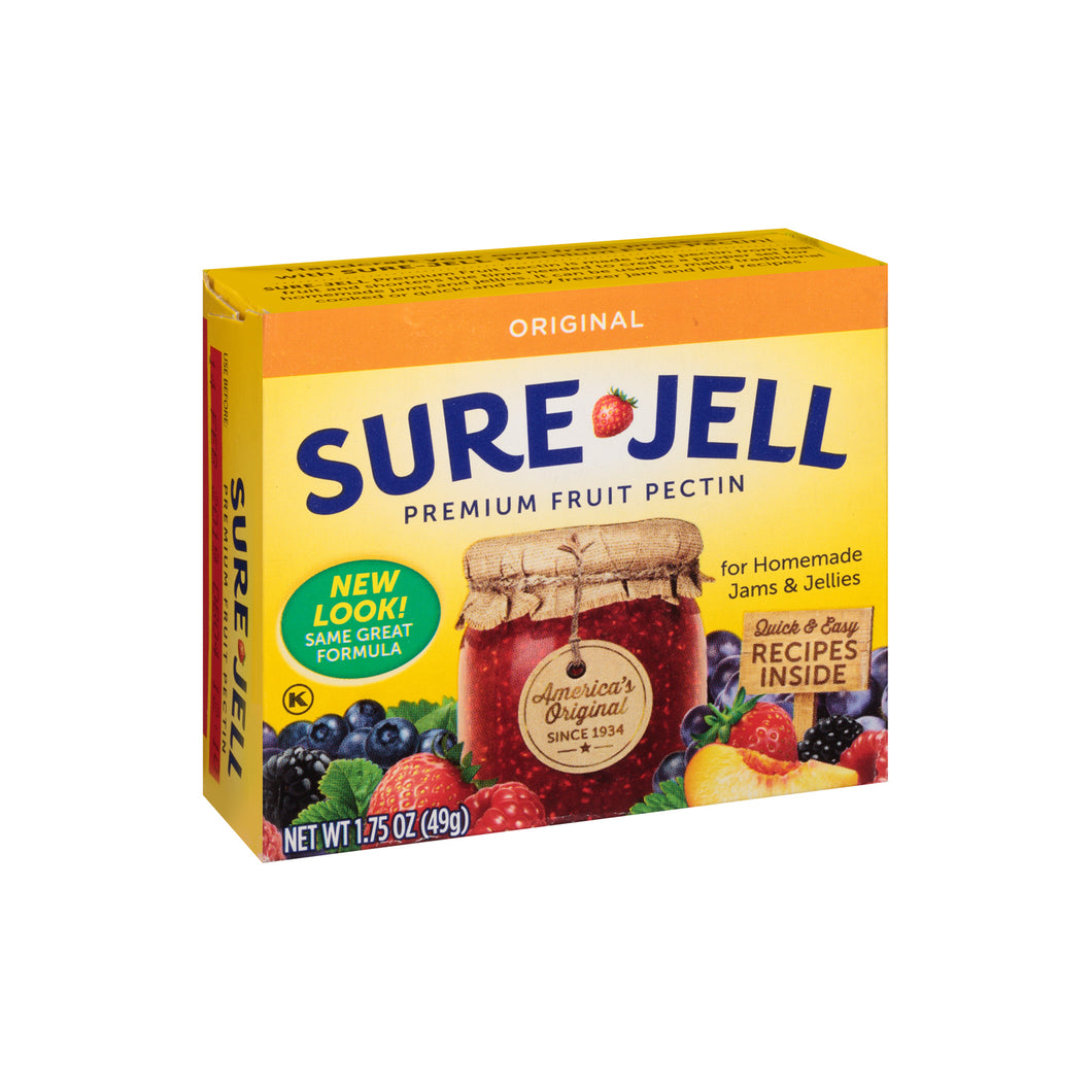 A box of Sure Jell premuim fruit pectin.