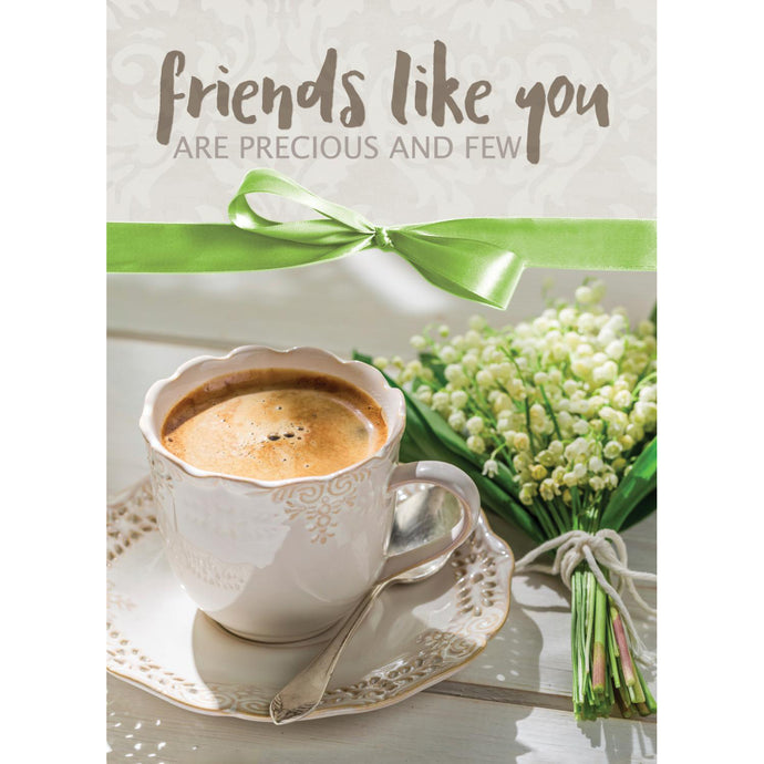 Coffee & Green Ribbon Note Cards 4058