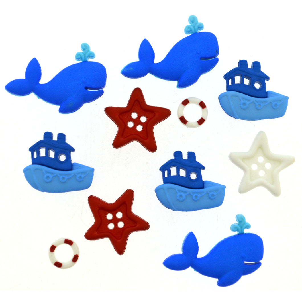 Whale, star, and boat buttons.