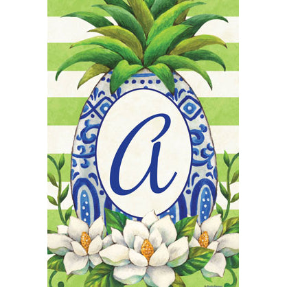 Pineapple Magnolia Monogram Garden Flags