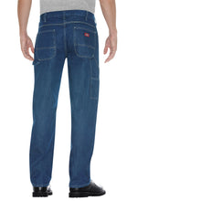 Stonewashed Indigo blue Dickies jeans, back.