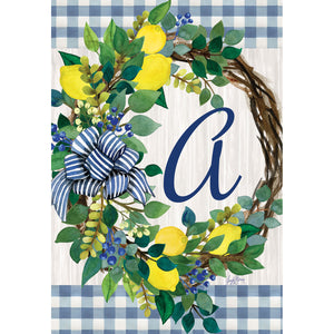Lemon Wreath Monogram Garden Flags