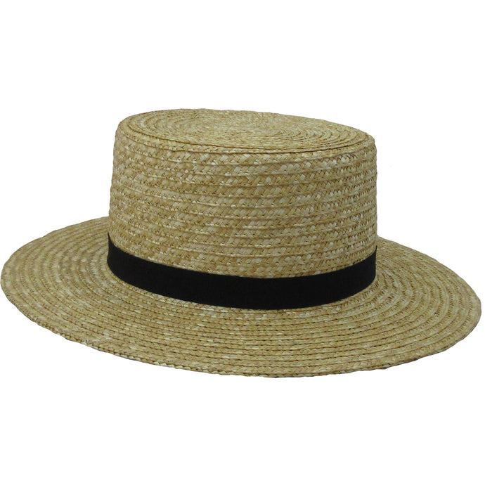 Amish Men's Straw Hat with black ribbon Amish hats.