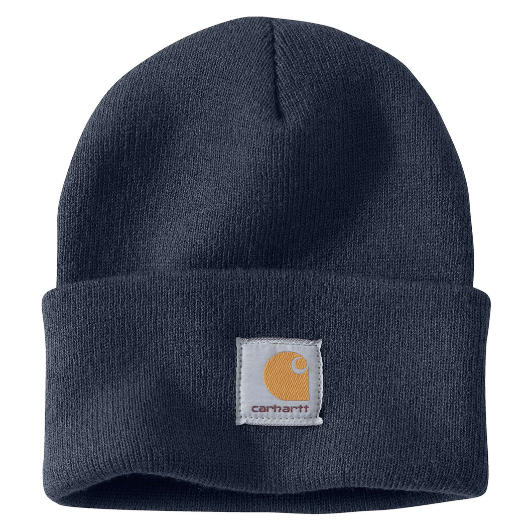 Navy Carhartt beanie with Carhartt label stitched on front.
