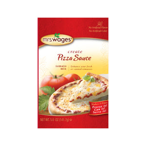 Pack of Mrs. Wages Pizza sauce mix.