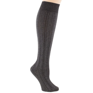 Charcoal knee-high socks.