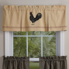Pleated valance with chicken printed on it.