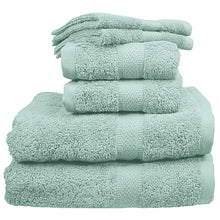 Spa Green washclothes, hand towels, and bath towels.