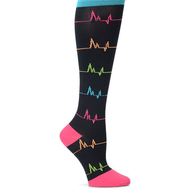 Blacks socks with ekg pattern