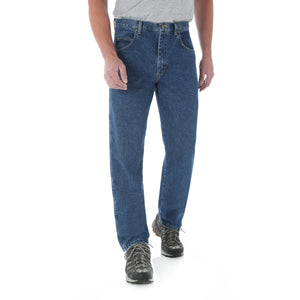 Antique Indigo Wrangler Relaxed fit jeans, front view.