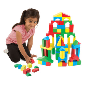 Girl playing with blocks.