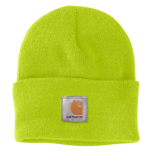 Brite Lime Carhartt beanie with Carhartt label stitched on front