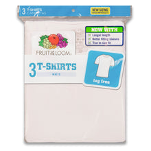 Fruit of the Loom white T-shirts for boys in pack.