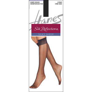 Hanes Knee High nylons Silk Reflections Jet Black.