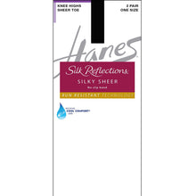 Hanes no run jet black knee high nylons.