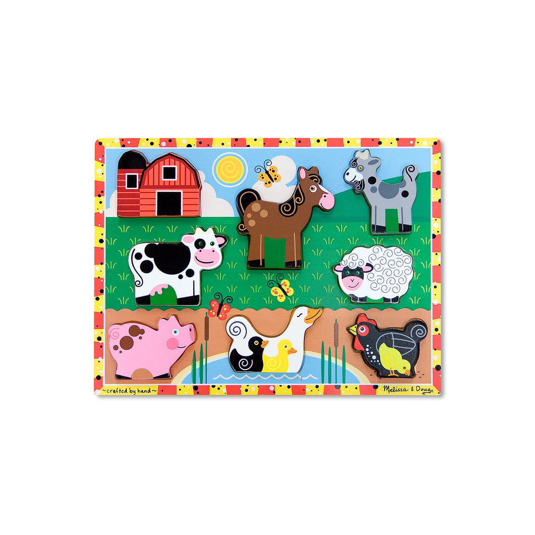 Melissa and Doug chunky farm animals puzzles for toddlers.