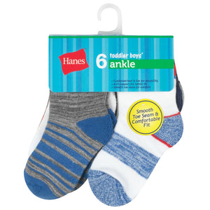 Hanes Toddler Boys Ankle Socks 6-pack in Package