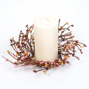 Pink, Butter, Brown Rice Berry Candle Ring.