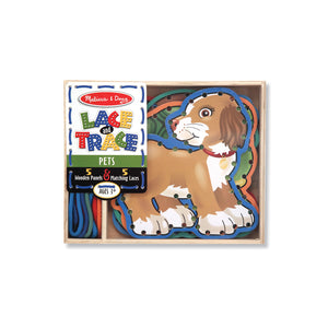 Melissa and Doug Pets Lace and Trace, wooden panels with shoelaces to thread through the holes in the edges.