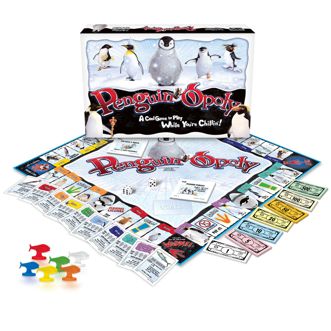 Penguin-opoly board game and playing pieces.