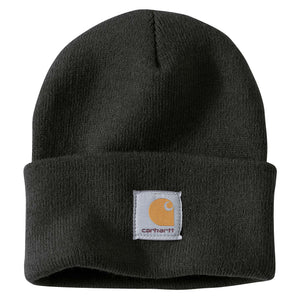 Black Carhartt beanie with Carhartt label stitched on front