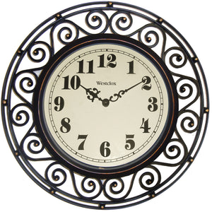 Westclox Ornate Wrought-Iron Look Wall Clock