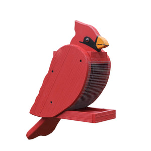 Large birdfeeder shaped and painted to look like a cardinal.