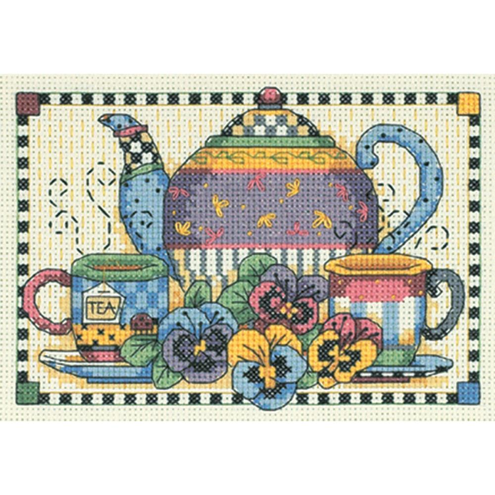 Teatime Pansies Cross Stitch Kit 6877