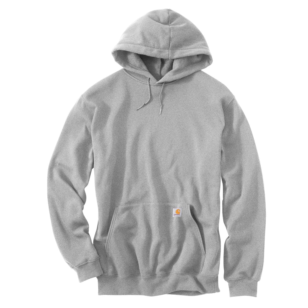 Heather Gray Carhartt hooded sweatshirt with Carhartt logo on front pocket.