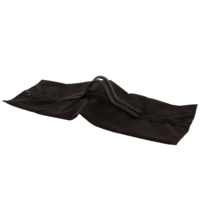 Black bag with handle large enough to hold quoits and stakes.