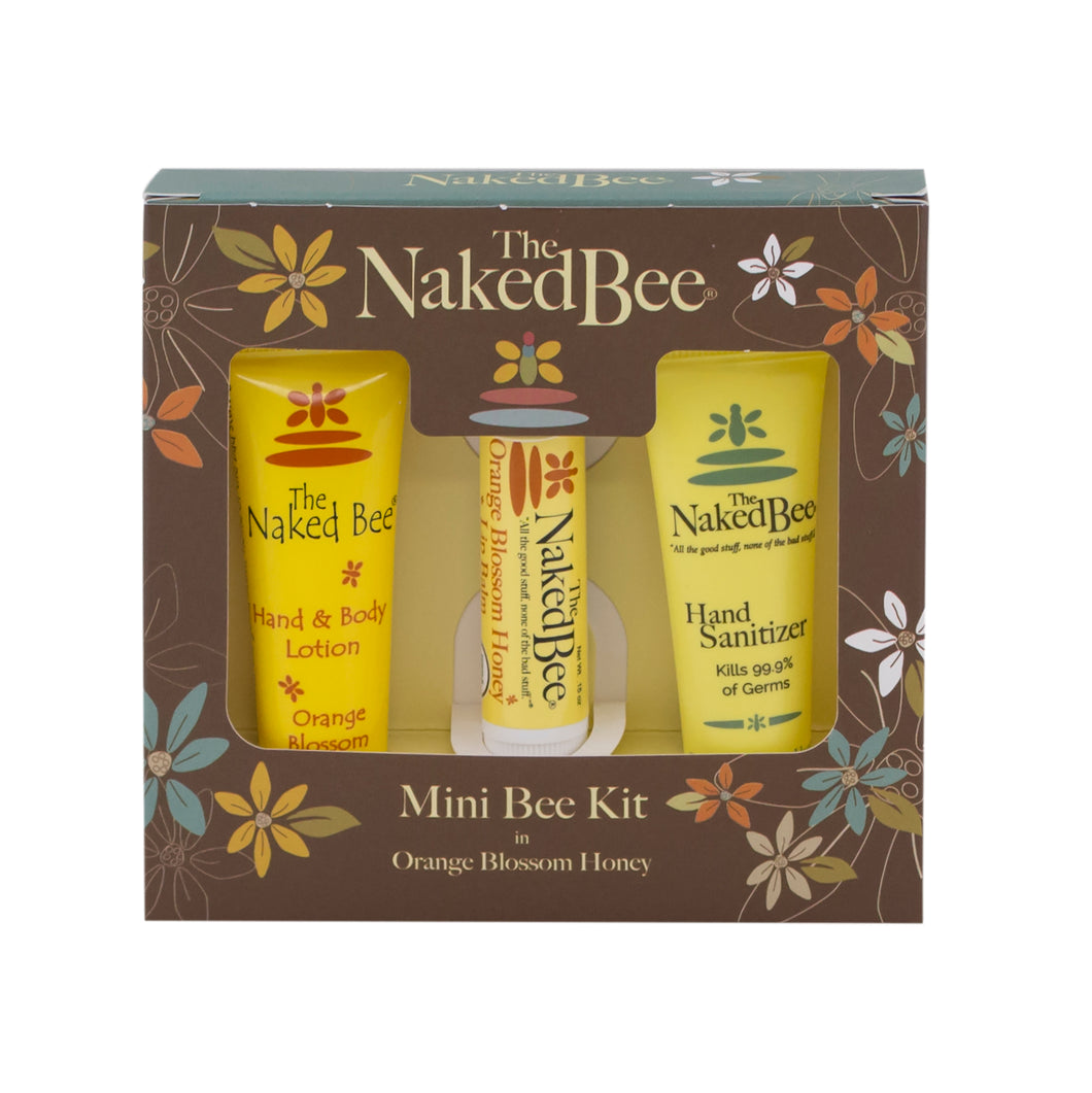 The Naked Bee Mini Bee Kit with three sample size products.