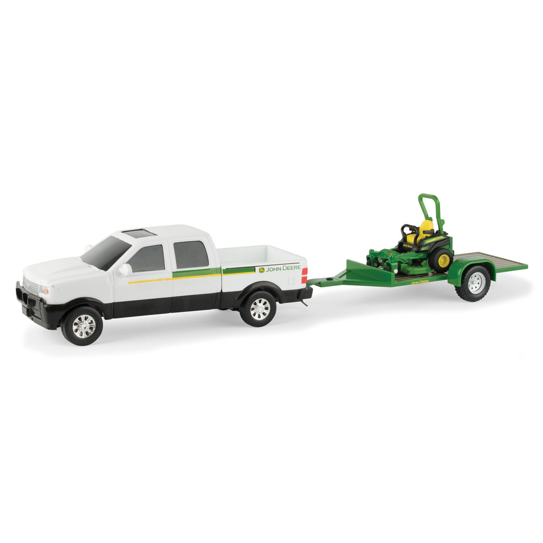 John Deere Pickup Truck with Z-Trak Mower on Trailer