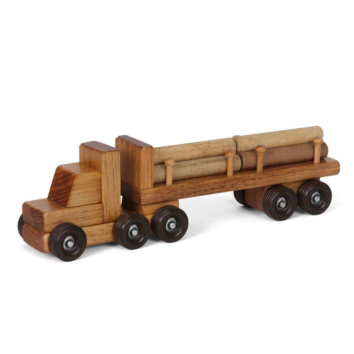 Lapp's toys wooden log truck with logs.
