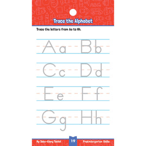 Carson Dellosa My Take-along Tablet Pre-Kindergarten Skills activity book letters page sample