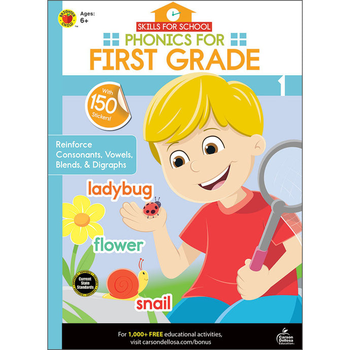 Carson Dellosa Phonics for First Grade activity book front cover