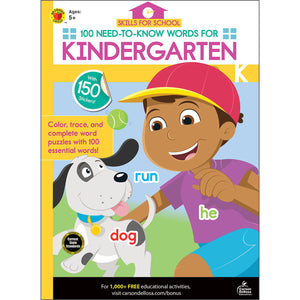 Carson Dellosa 100 Need-to-know Words for Kindergarten activity book front cover