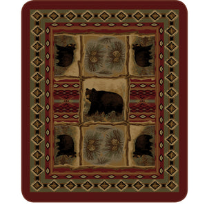 Regal Comfort Rustic Bear Patchwork Blanket DB 5351-2 Queen Size