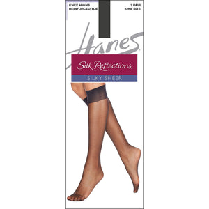 Hanes Knee High nylons reinforced toe barely black.