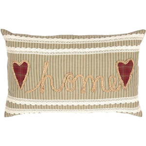 Pillow with the word home on it.