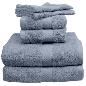 Blue towels and wash cloths.