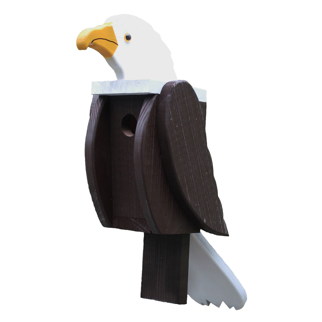 Large wooden birdhouse made and painted to look like an a bald eagle.