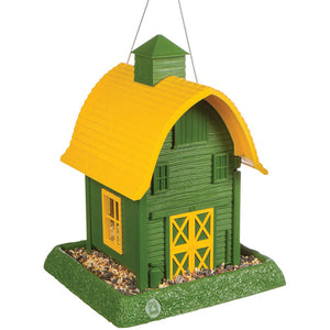 Green Barn Bird Feeder Angle View