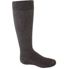 Charcoal Grey cable knit girl's knee-high socks.