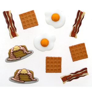 Bacon, egg, pancake, and waffle buttons.