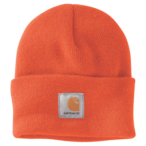 Brite Orange Carhartt beanie with Carhartt label stitched on front