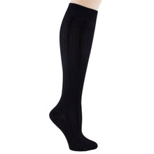 Women's black knee-high sock.