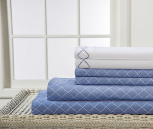 Denim Blue Bed Sheets with white pillowcases