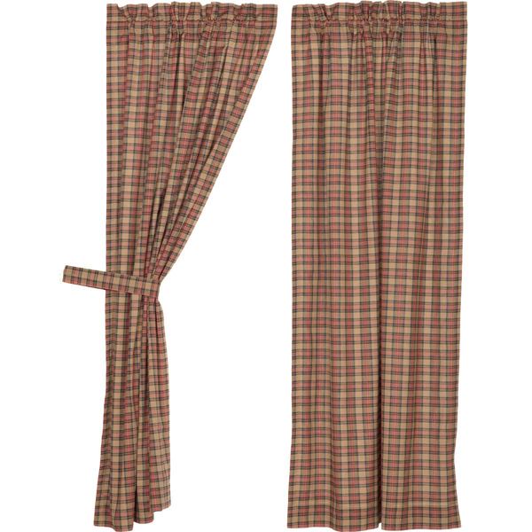 Curtain panels with tie, crosswoods plaid pattern.