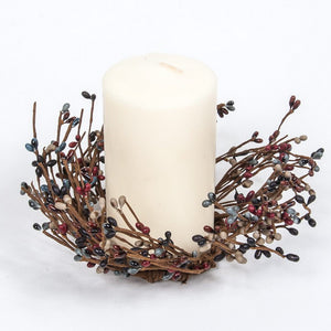 Red, Slate Blue, Black Mix Candle Ring Rice Berry