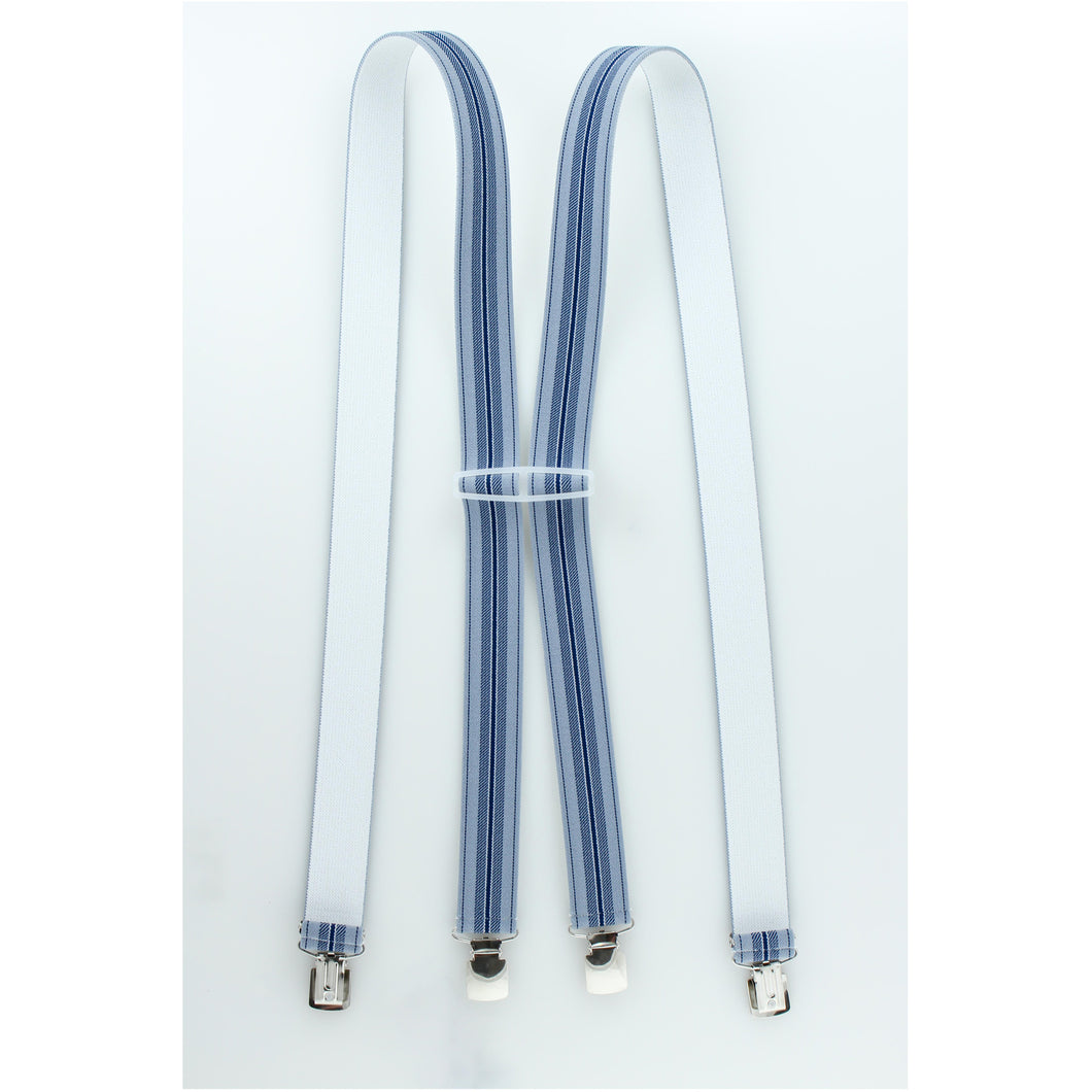 Blue Striped Shenandoah Striped Suspenders Clip On S3CP